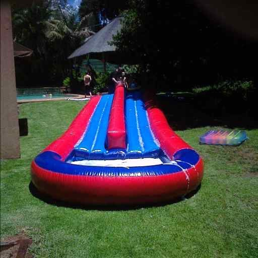 Double waterslide inflatable castle