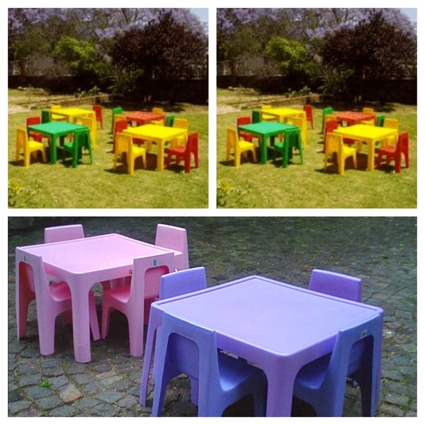 Children table and chairs. Yellow, Green, Red. Pink and Purple.